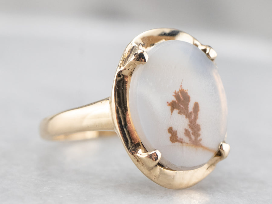 Vintage Gold Shazar Stone Agate Ring