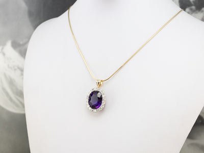 Amethyst and Diamond Halo Cocktail Pendant