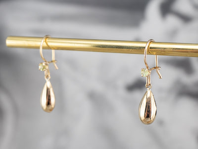 Gold Teardrop Demantoid Garnet Earrings