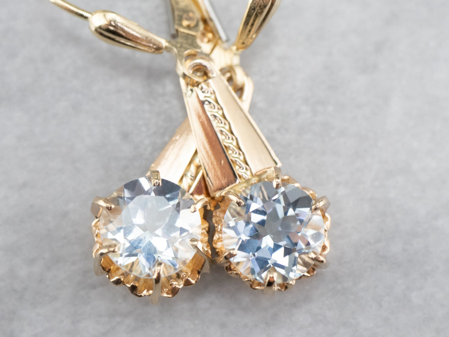 Light Blue Aquamarine Gold Drop Earrings