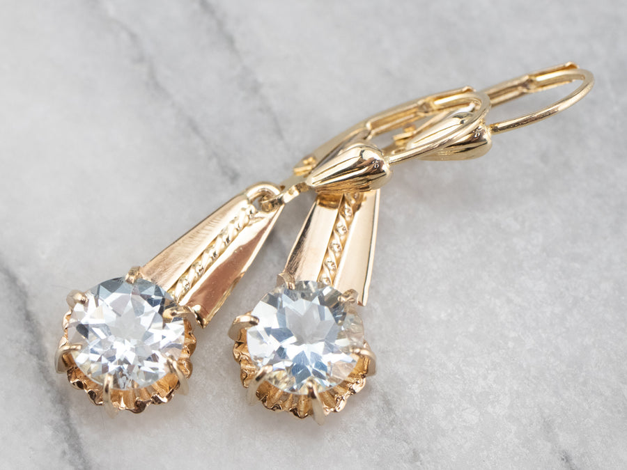 Vintage Style Aquamarine Drop Earrings
