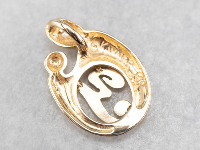 "Gold Mother and Child ""Y"" Pendant"