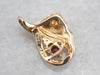 Vintage Ruby and Diamond Gold Pendant