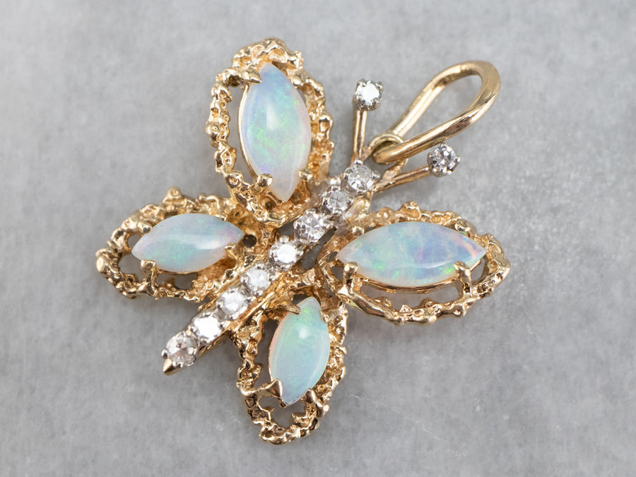 Whimsical Opal and Diamond Butterfly Pendant