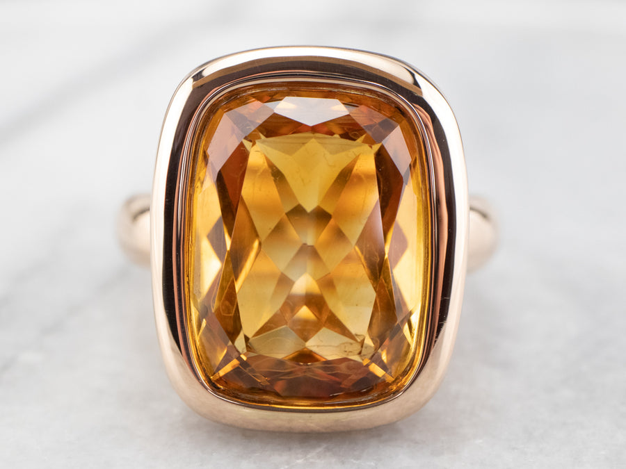 Bulky Gold Citrine Cocktail Ring