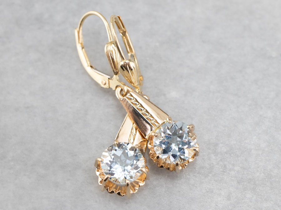 Aquamarine Yellow Gold Drop Earrings