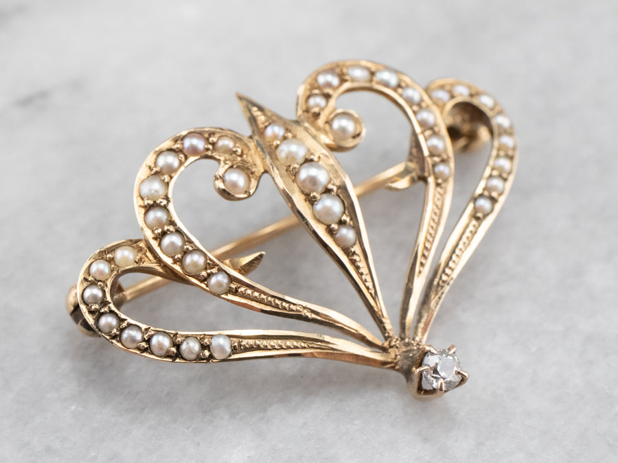 Antique Diamond and Seed Pearl Brooch