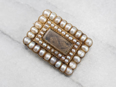 Victorian Seed Pearl Mourning Hair Pin
