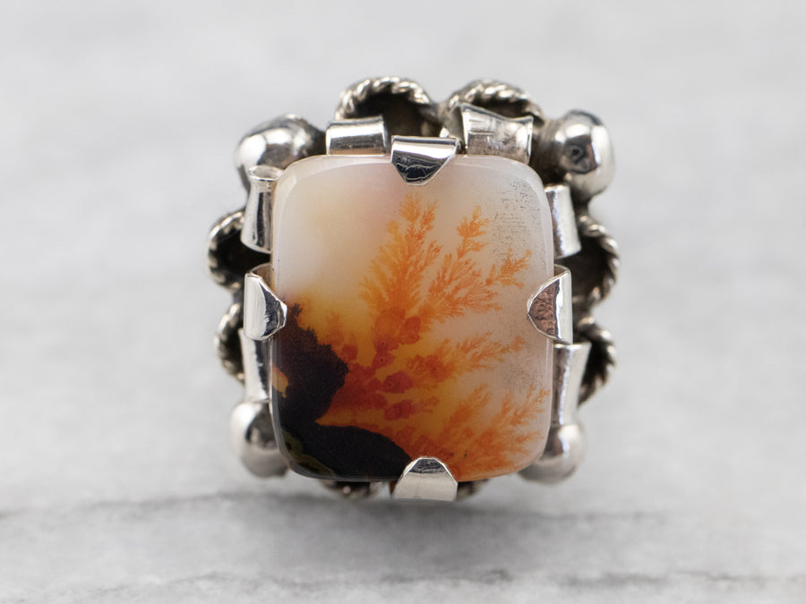 Vintage Dendritic Agate Sterling Silver Ring