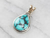 Mixed Metal Teardrop Turquoise Pendant