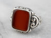 Unisex Sterling Silver Carnelian Statement Ring