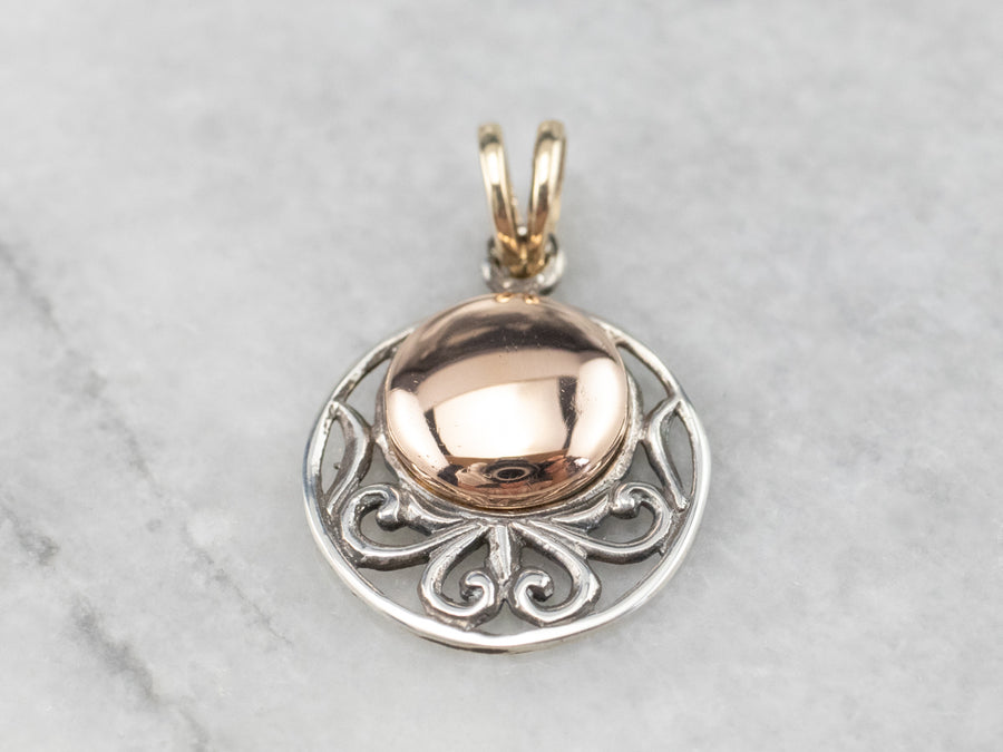 Sterling Silver and Rose Gold Filigree Pendant