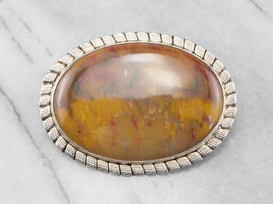 Large Yellow Jasper Sterling Silver Statement Brooch