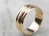 Vintage Floral Patterned 14K Gold Wedding Band