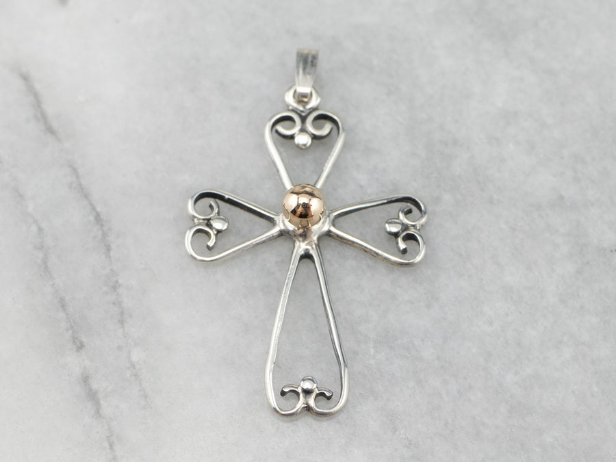 Mixed Metal Openwork Cross Pendant