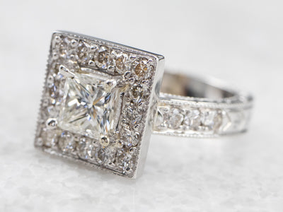 Square Halo Diamond White Gold Engagement Ring