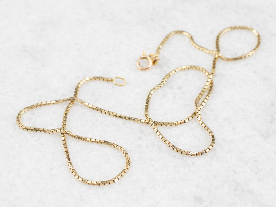 Italian Gold Box Chain Necklace