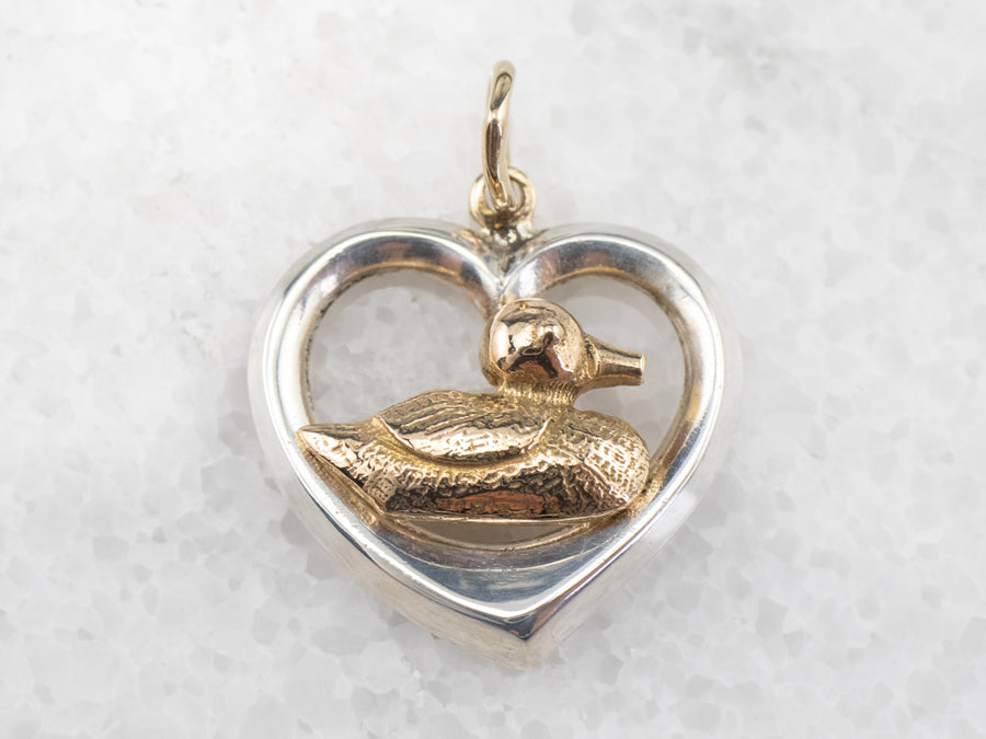 Mallard Duck and Heart Mixed Metal Pendant
