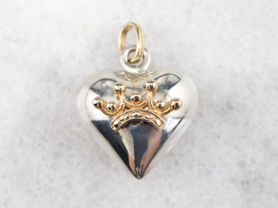 Heart and Crown Silver and Gold Pendant