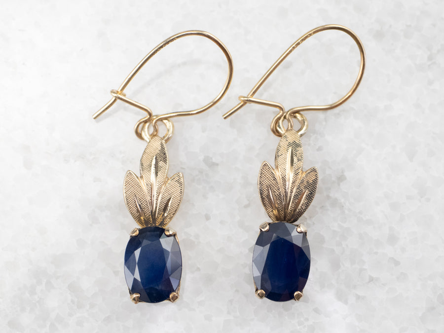Gold Fill Botanical Sapphire Earrings