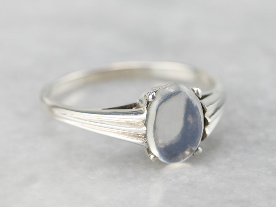Blue Flash Moonstone Sterling Silver Solitaire Ring