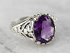 Amethyst Sterling Silver Filigree Ring