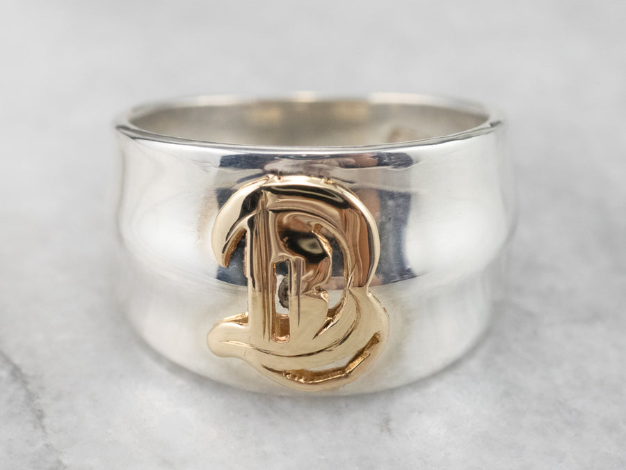 "Mixed Metal ""B"" Initial Ring"