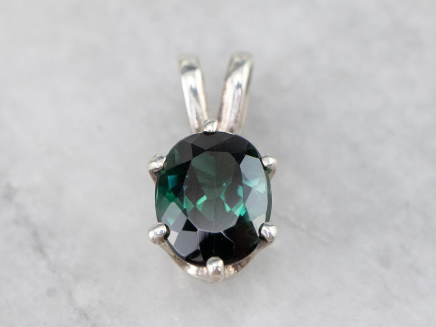 Sterling Silver Green Tourmaline Solitaire Pendant