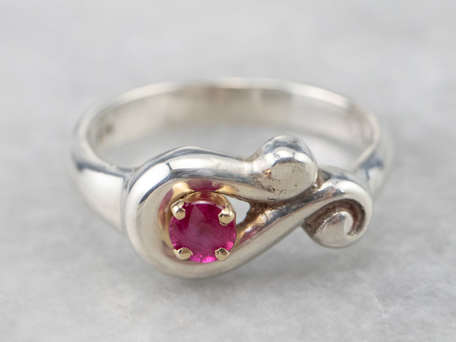 Silver and Gold Modernist Ruby Solitaire Ring