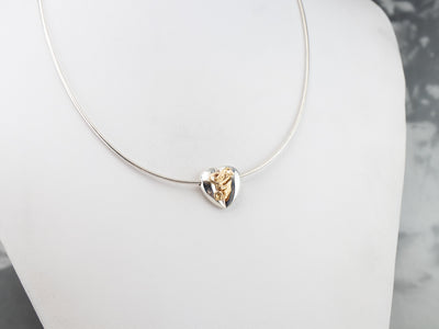 "Mix Metal Monogramed ""G"" Heart Necklace"