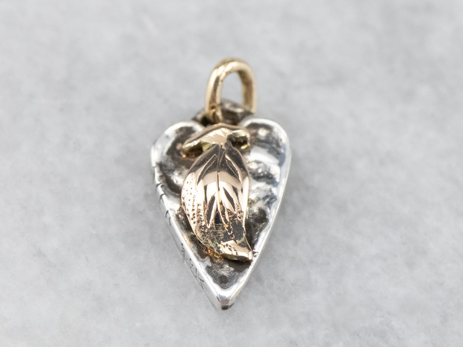 Mix Metal Tiny Heart and Leaf Pendant