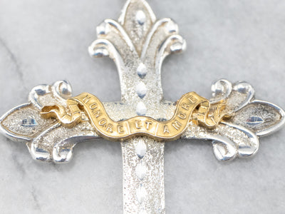 Honore et Amore Mixed Metal Cross Pendant