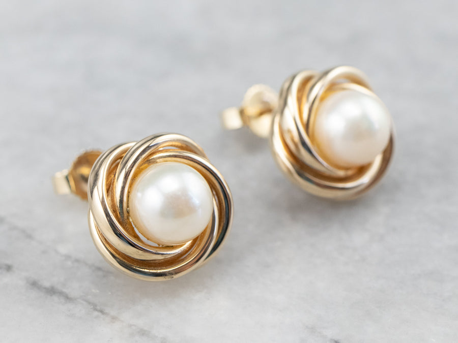 Vintage Pearl Gold Knot Stud Earrings