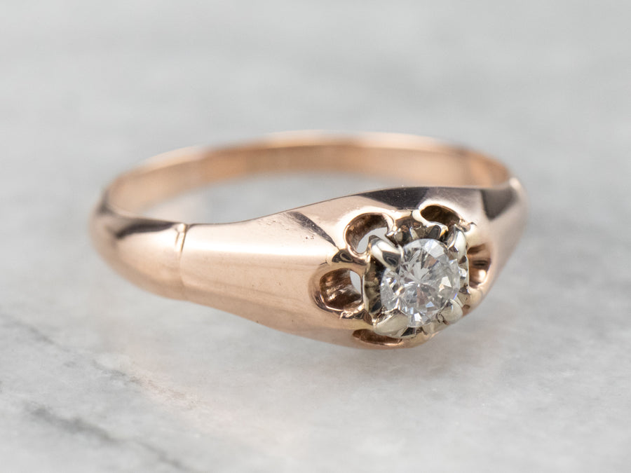 Buttercup Diamond Rose Gold Solitaire Engagement Ring