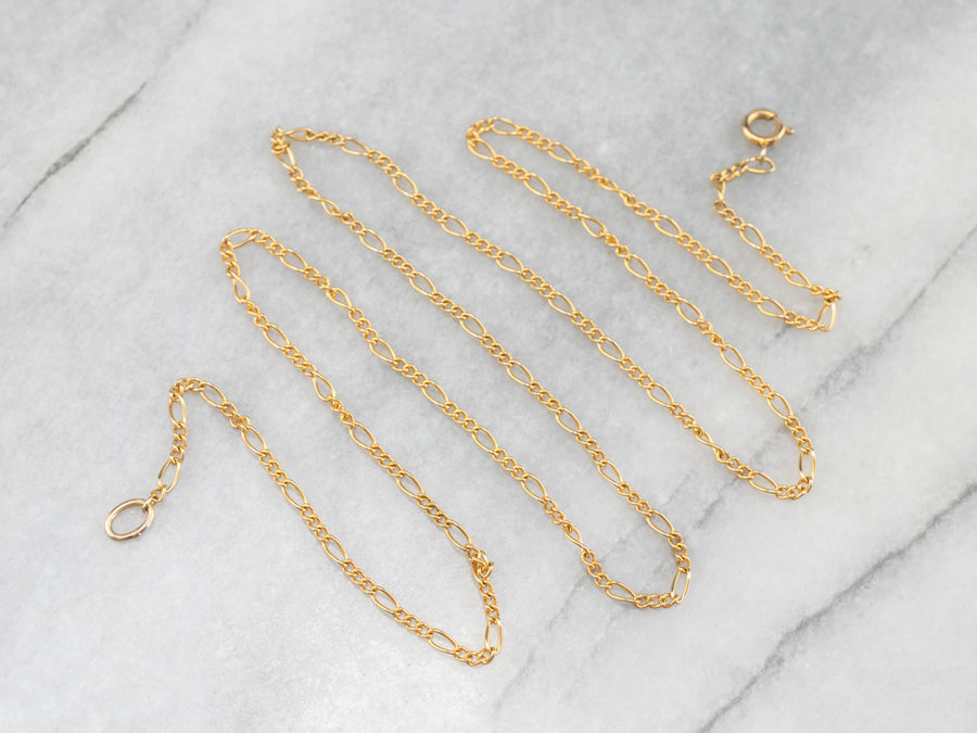 Yellow Gold Figaro Chain Necklace