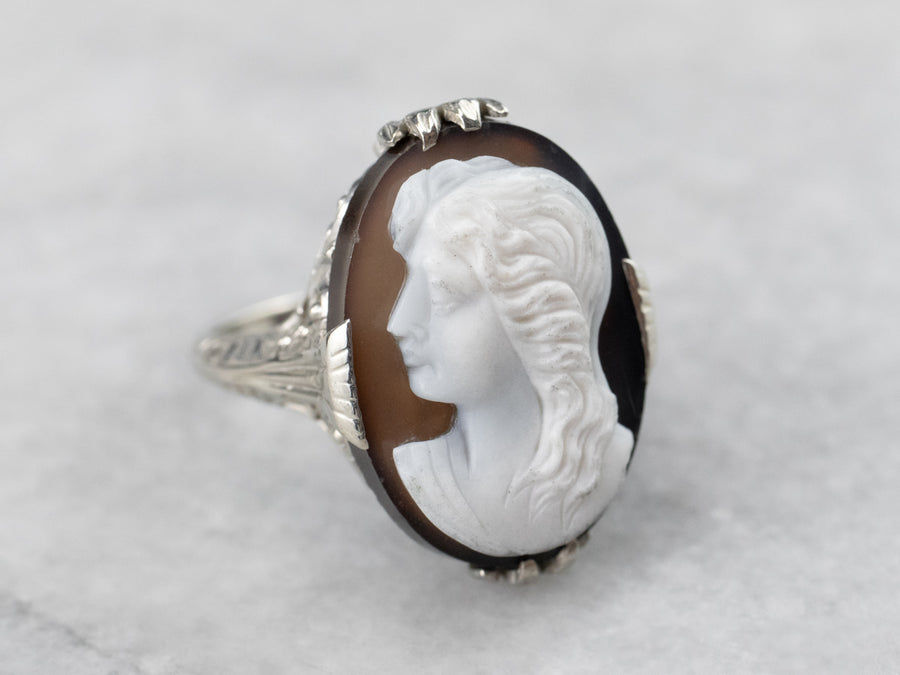 Vintage Sardonyx Cameo White Gold Filigree Ring