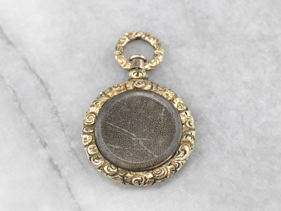 Victorian Mourning Glass Gold Pendant
