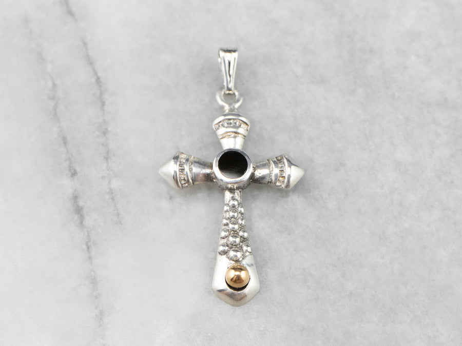 Black Onyx Mixed Metal Cross Pendant
