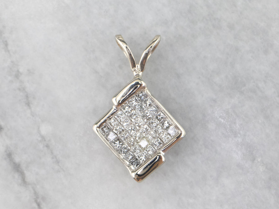 White Gold Diamond Cluster Pendant