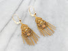 Vintage Yellow Gold Floral Filigree Drop Earrings