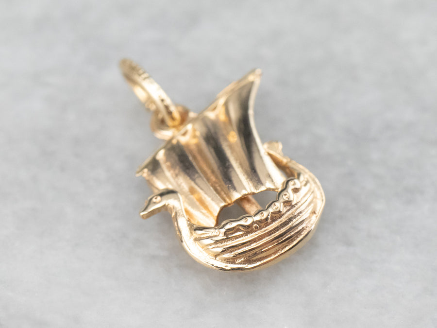 Vintage Gold Viking Ship Charm