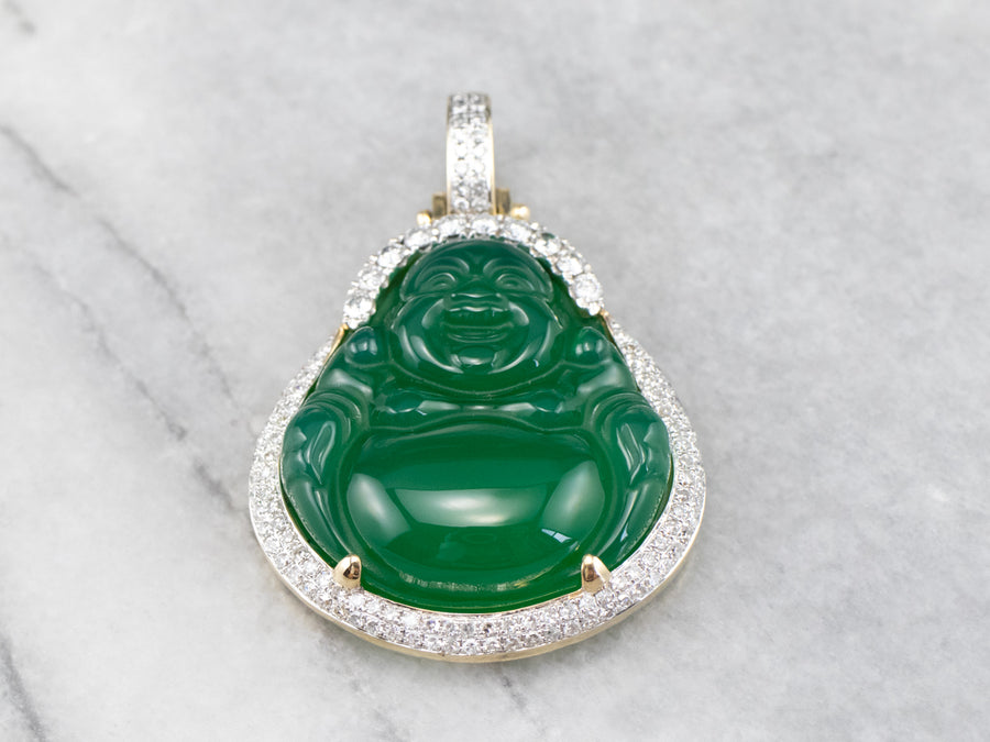 Green Onyx and Diamond Buddha Pendant