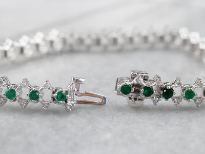 Emerald and Diamond Link Bracelet in White Gold