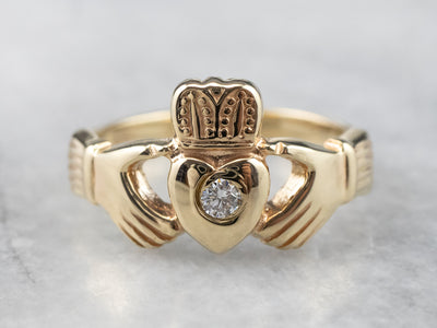 Unisex Diamond and Gold Claddagh Ring