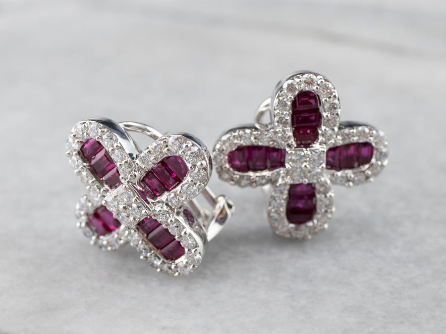 Floral Ruby and Diamond Earrings in 18K White Gold