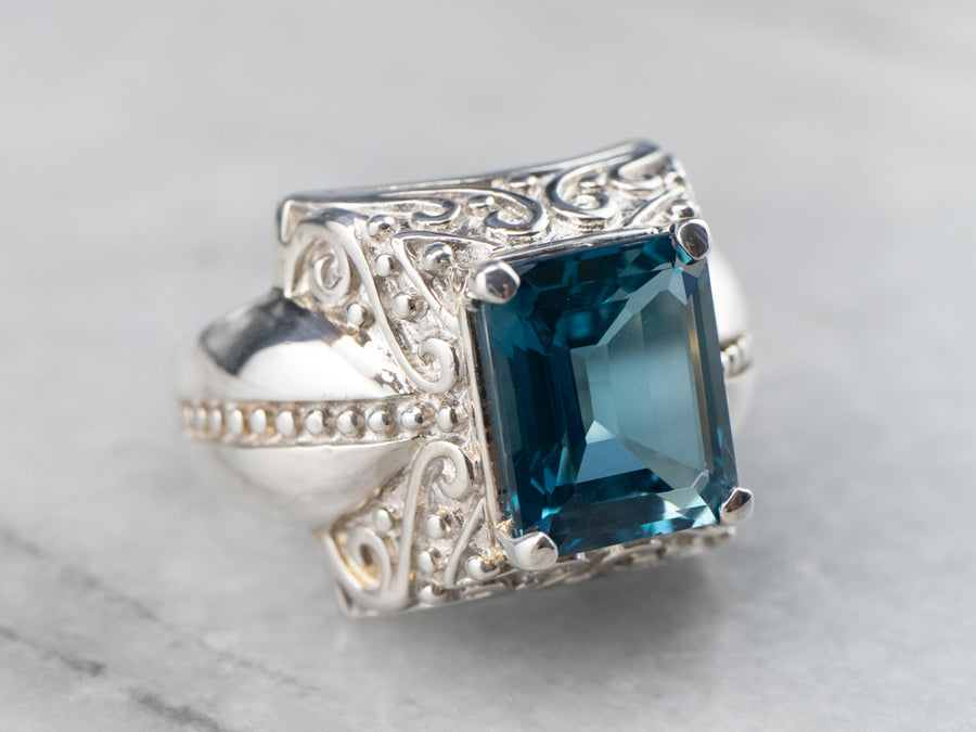 Bold Blue Topaz Statement Ring