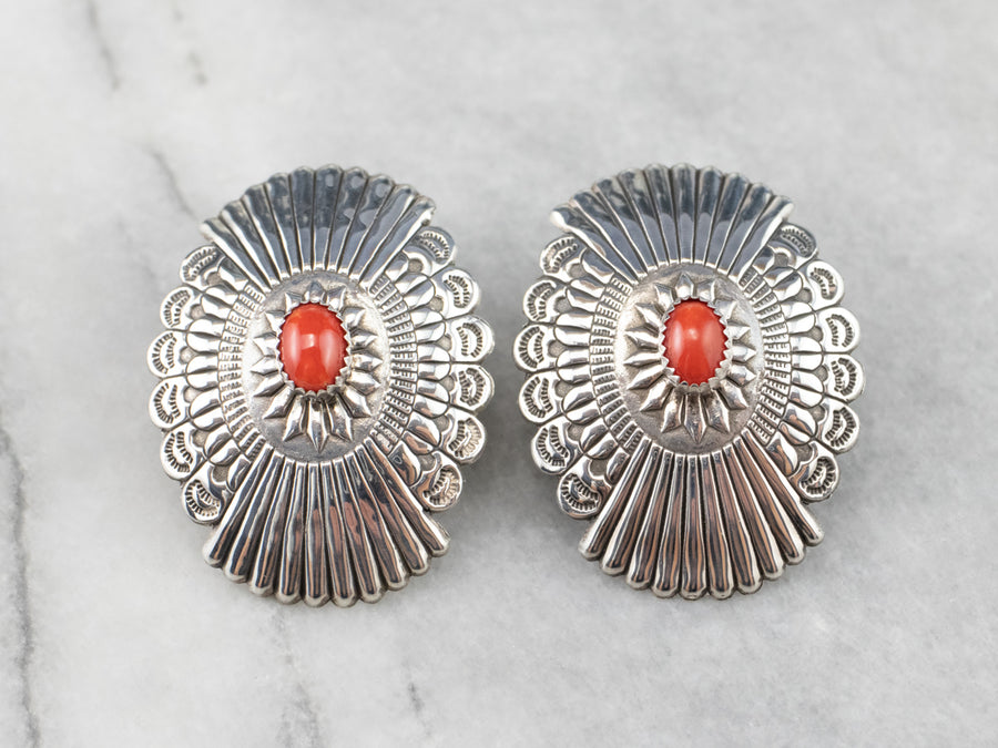 Native American Coral Sterling Silver Statement Earrings