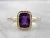 Bezel Set Amethyst Diamond Gold Ring