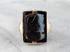 Vintage Roman Soldier Onyx Cameo Gold Statement Ring