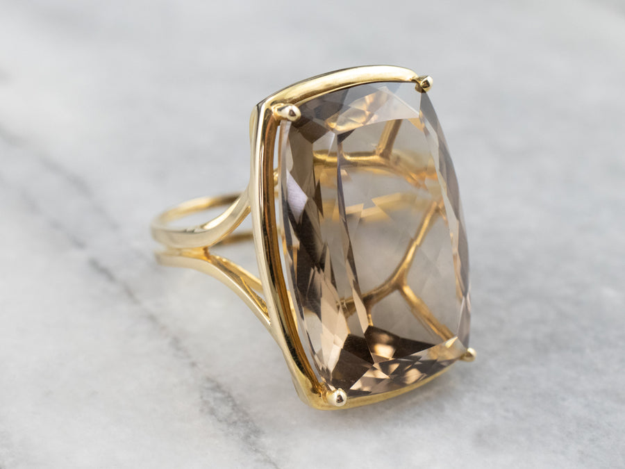 Smoky Quartz Gold Cocktail Ring